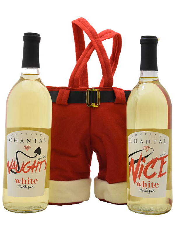 Naughty & Nice White with Santa Pants Carrier